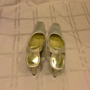 Shoes - J.Renee  Gold Sling Back Heels