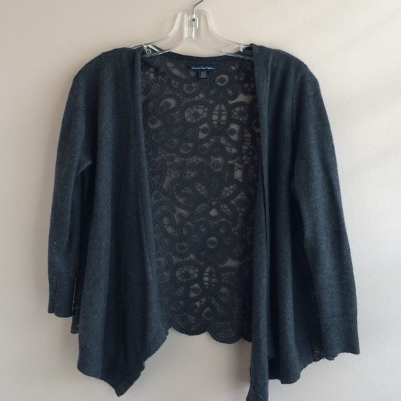 38% off American Eagle Outfitters Sweaters - Gray lace cardigan ...