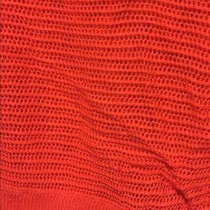 Express Tops - Mesh Sweater - Bright Orange