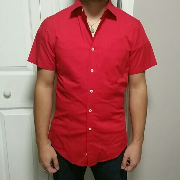 United Colors Of Benetton - MENS Short sleeve red button down ...