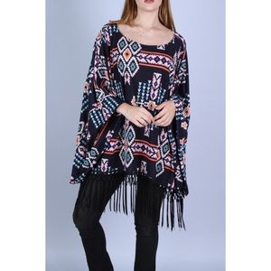 Tops - Fringed Print Terry Top
