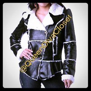 Apple Bottoms Jackets & Blazers - Black Faux shearling imitation leather peplum coat