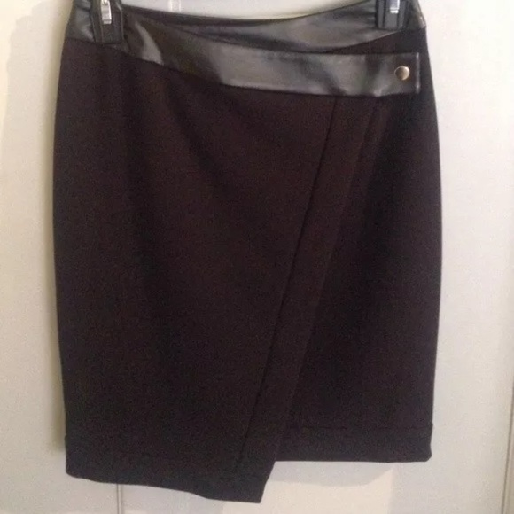 h m h m leather trim black pencil skirt from s