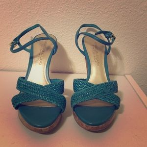 Christian Siriano Shoes - Teal and cork heels.