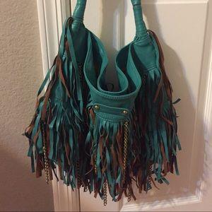 Melie Bianco Fringe Hobo Bag With Chains