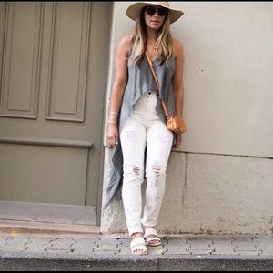 ZARA High Waist Ripped Skinny Jeans