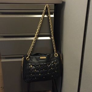 Rebecca Minkoff black leather and gold purse