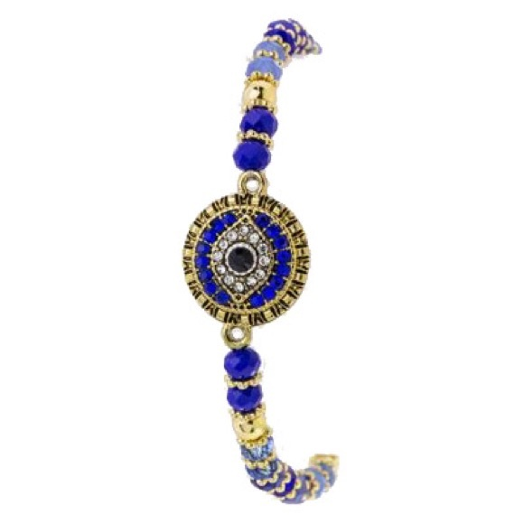 Tanya Kara Jewelry - Evil Eye Blue Stretch Bracelet