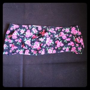 Rose print bandeau top