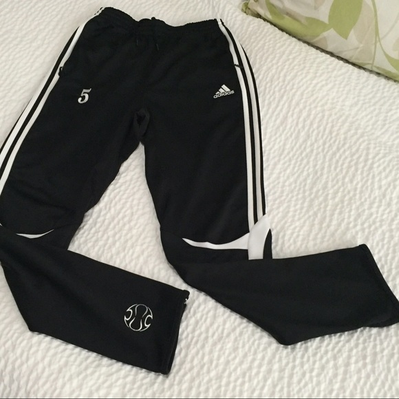 best place recognized brands preview of Adidas black joggers with zipper bottom