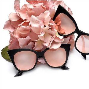 Black Frame cat eye sunglasses pink lenses