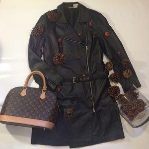 🎉Vintage Zip Front Belted Leather Dress Coat🎉