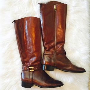 Authentic TORY BURCH brown leather riding boots