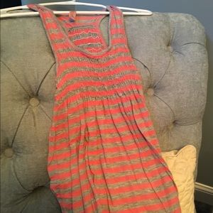 Gray and peach striped long tank