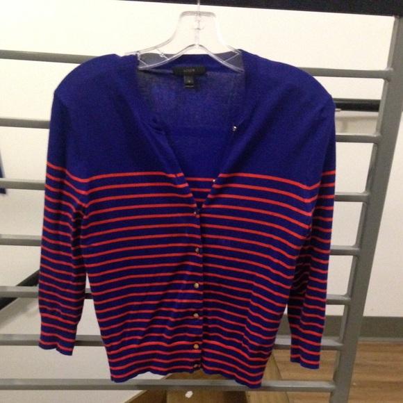 83% off J. Crew Sweaters - J Crew Blue and Orange Striped Cardigan ...