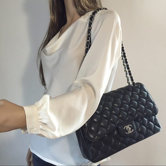 67666cf4de62 CHANEL Bags | Sold Out Jumbo Caviar Double Flap Black Shw | Poshmark