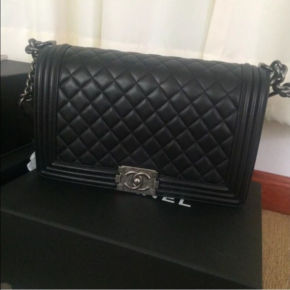 6521d13d6a066f CHANEL Bags | Sold Out New Medium Boy In Black Shw | Poshmark