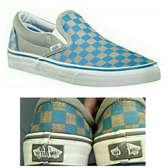 Blue Checkered Slip Ons | Poshmark