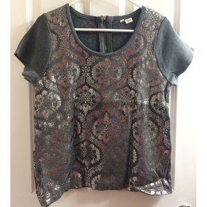 Metallic knit top from Anthro