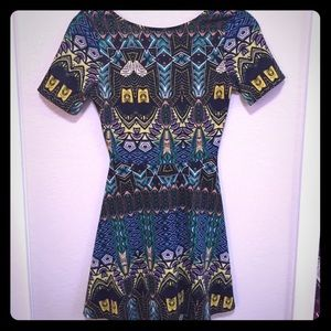 Tribal Print Cut-Out Dress