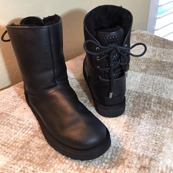 d9ba66ecd44 UGG Black Leather Lace Up Boots