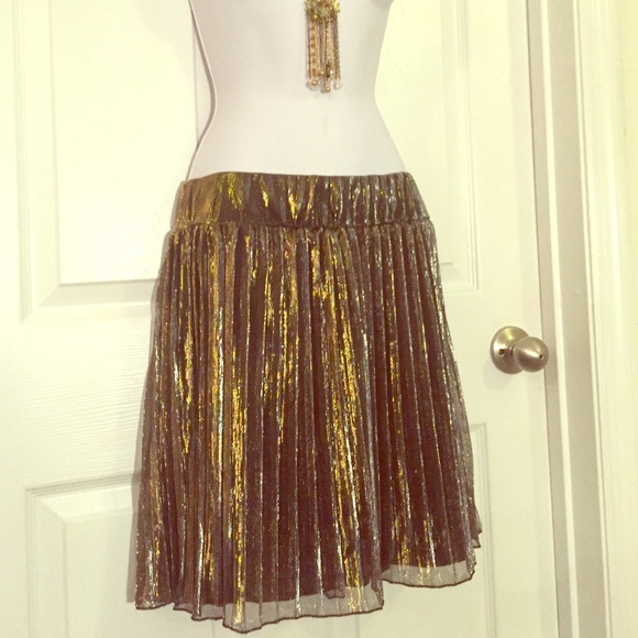 69428c8411 H&M Dresses & Skirts - Gold pleated sheer H&M skirt Large