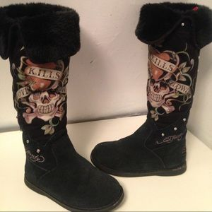 Ed Hardy Authentic Black Boots