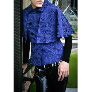 Hot Topic Jackets & Blazers - 🆕Blue Cape Jacket with Elegant Brocade. Steampunk