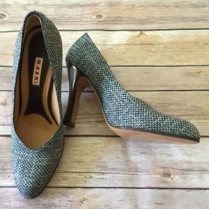 New marni tweed almond toe heels Sz 38 1/2 LOWEST