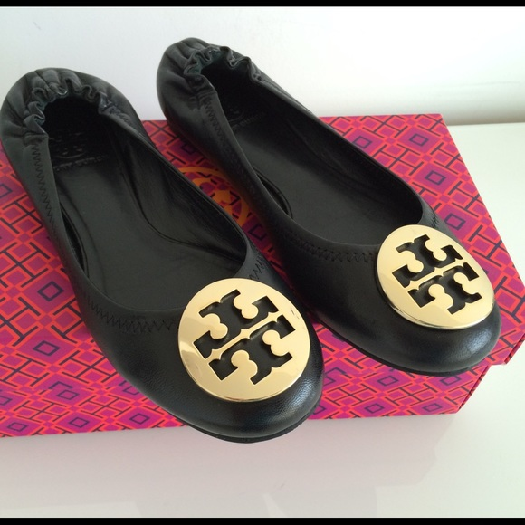 TORY BURCH CLASSIC REVA BALLET FLATS BLACK/GOLD