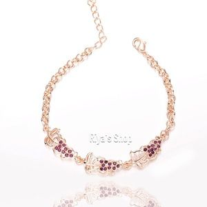 SALE 18K gold plated rhinestone fruit bracelet