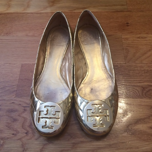 Authentic Tory Burch Quilted Gold flats