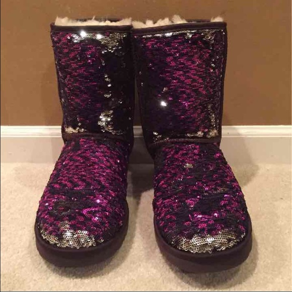 1159f465bfc Purple and silver color changing sparkly Uggs