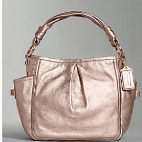 d524b67a4ed0 Coach Handbags - COACH Rose Gold Metallic Leather Bag L0882-13466