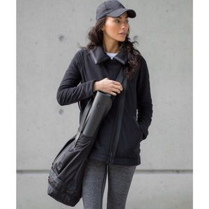 lululemon athletica Jackets & Blazers - Lululemon Black Moto fleece coat HTF w bag