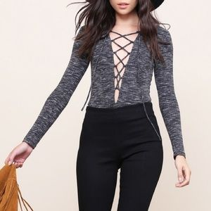 """X """"Lovesong"""" Lace Up Bodysuit"""