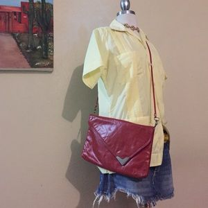 Vintage burgundy crossbody bag