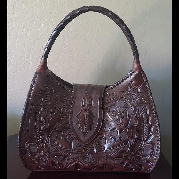 Alejandro Yeo - Dark Brown Tooled Leather Purse from P's closet on ...