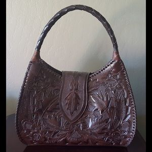 Alejandro Yeo Bags Dark Brown Tooled Leather Purse