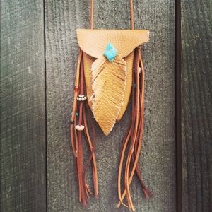 Leather Turquoise Feather Medicine Bag Necklace