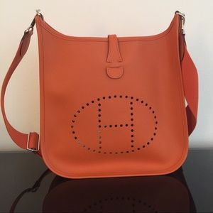 affordable leather handbags - 56% off Hermes Handbags - Authentic Hermes Togo leather Evelyne ...