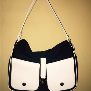 Kate Spade navy canvas & white leather satchel