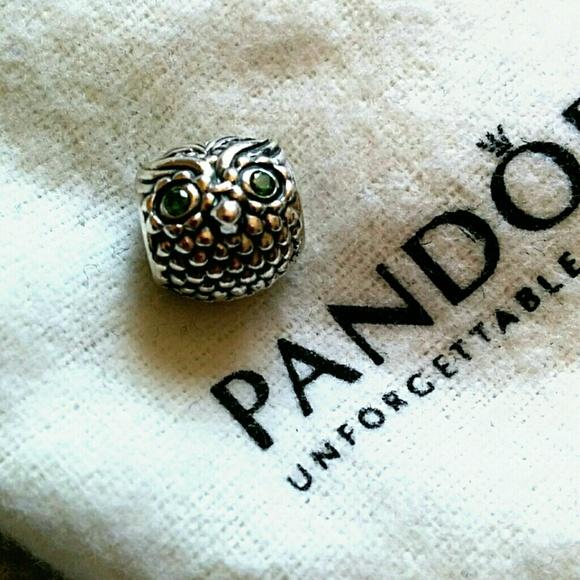 d4e6fde5c Pandora Jewelry | Wise Owl Charm Silver Wdark Green Cz | Poshmark