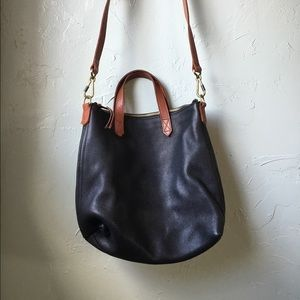 Madewell Mini Transport Tote in Black Leather