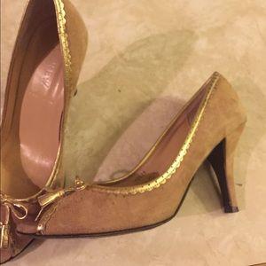 J. Crew Tan suede, Made in Italy, heels
