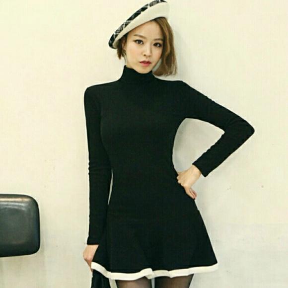57a172f993 Dresses   Skirts - Black Turtleneck Skater Dress