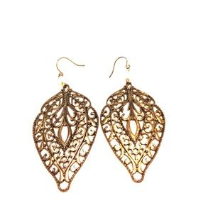 Gold colored leaf earrings