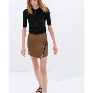 Zara Dresses & Skirts - ZARA BASICS faux leather brown wrap mini skirt NWT