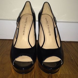 59bb35c2538 Marc Fisher Shoes - Marc Fisher black faux patent leather peeptoe pump