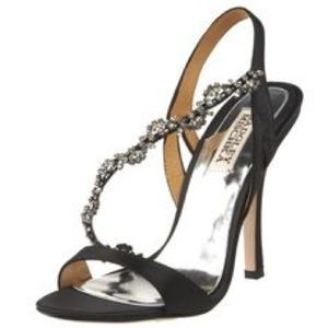 Badgley Mischka black sandal heels.